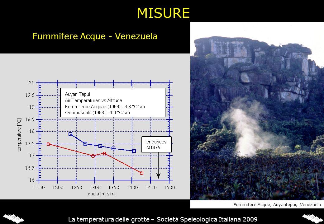 Fummifere Acque - Venezuela Fummifere Acque, Auyantepui, Venezuela La temperatura delle grotte – Società Speleologica Italiana 2009 MISURE