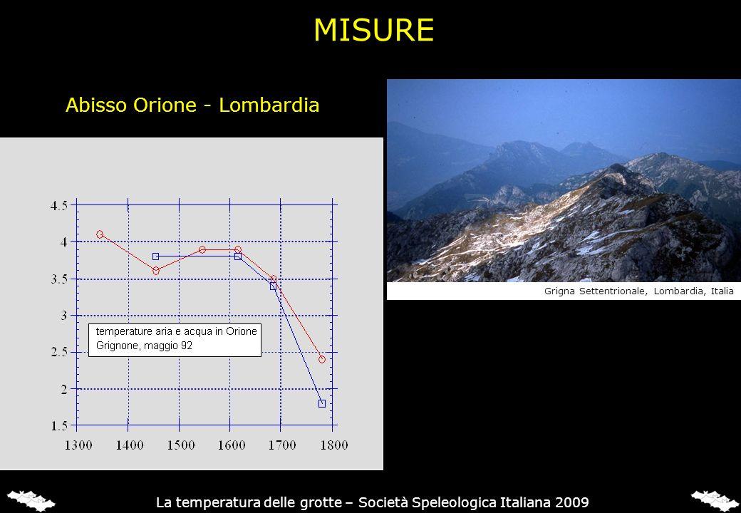 Abisso Orione - Lombardia Grigna Settentrionale, Lombardia, Italia La temperatura delle grotte – Società Speleologica Italiana 2009 MISURE