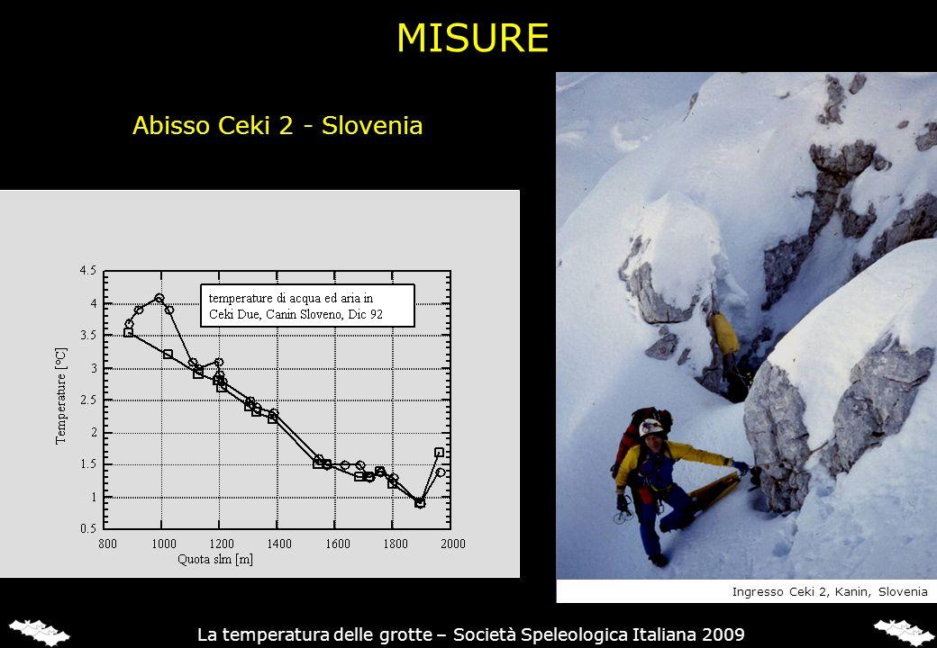 Abisso Ceki 2 - Slovenia Ingresso Ceki 2, Kanin, Slovenia La temperatura delle grotte – Società Speleologica Italiana 2009 MISURE
