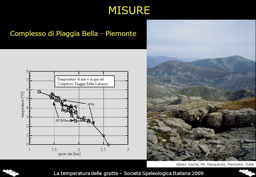 Complesso di Piaggia Bella - Piemonte Abisso Gaché, PB, Marguareis, Piemonte, Italia La temperatura delle grotte – Società Speleologica Italiana 2009