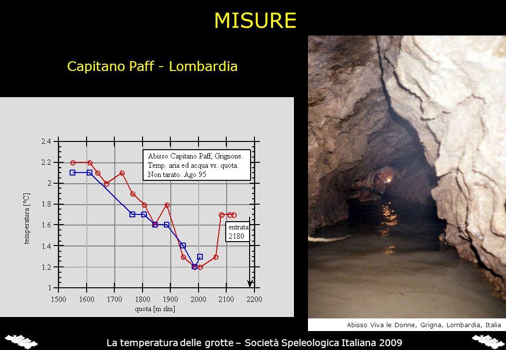 Capitano Paff - Lombardia Abisso Viva le Donne, Grigna, Lombardia, Italia La temperatura delle grotte – Società Speleologica Italiana 2009 MISURE