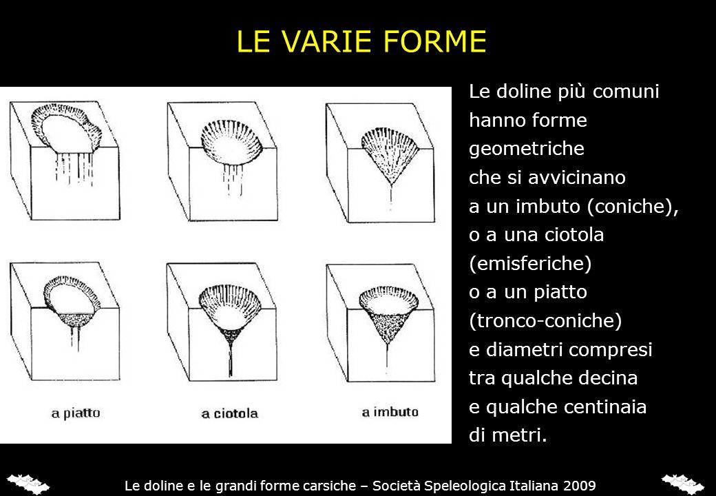 LA CLASSIFICAZIONE SECONDO I VECCHI AUTORI I vecchi autori distinguevano quattro tipi fondamentali di doline: 1) le doline di soluzione normale; 2) le doline di crollo; 3) le doline alluvionali; 4) le doline o conche di subsidenza.