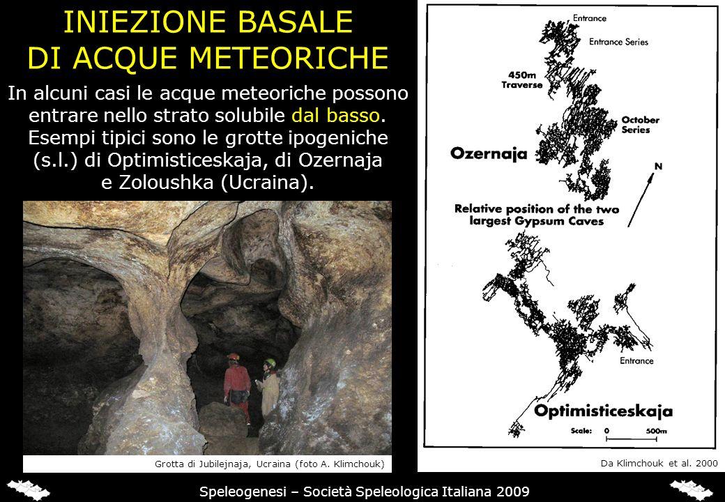 INIEZIONE BASALE DI ACQUE METEORICHE Speleogenesi – Società Speleologica Italiana 2009 In alcuni casi le acque meteoriche possono entrare nello strato solubile dal basso.