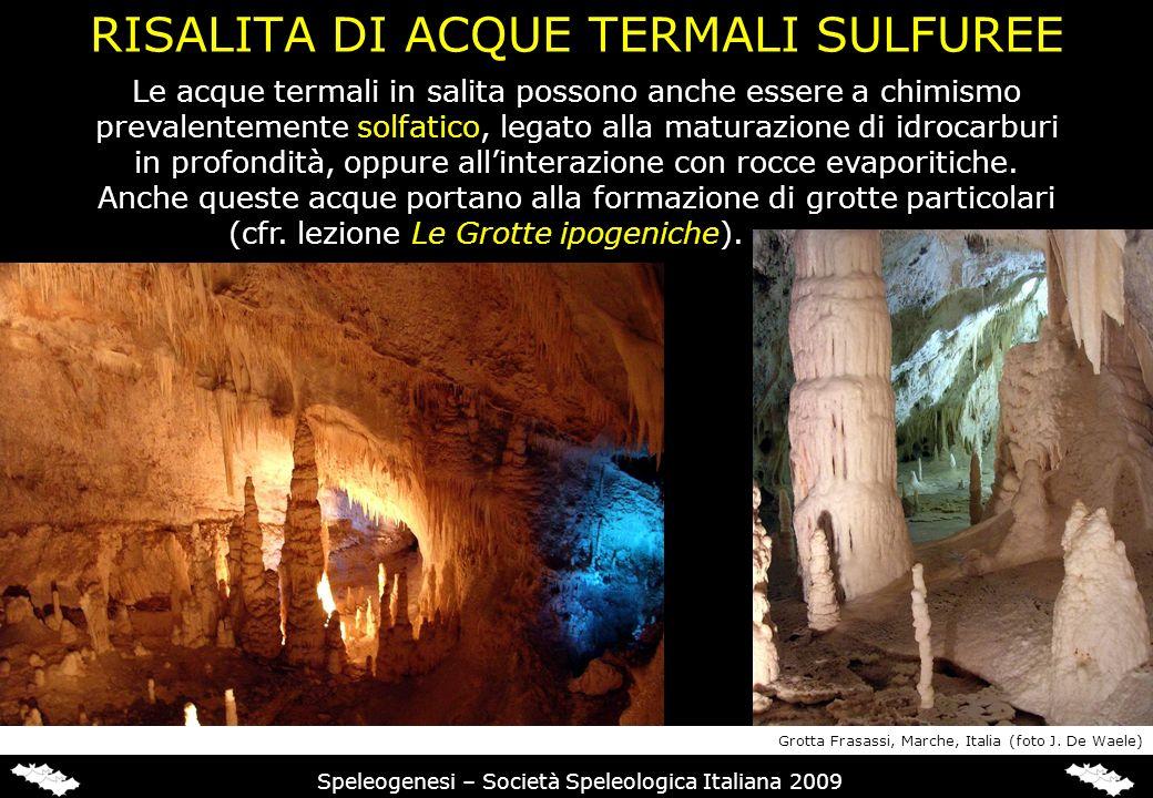 RISALITA DI ACQUE TERMALI SULFUREE Speleogenesi – Società Speleologica Italiana 2009 Le acque termali in salita possono anche essere a chimismo preval
