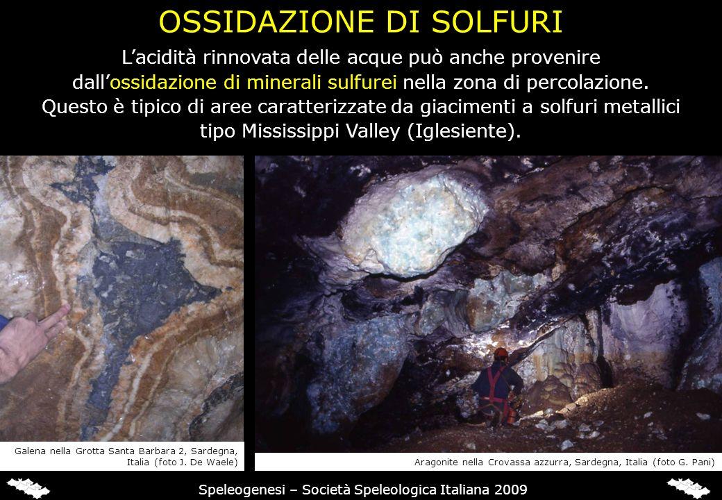 OSSIDAZIONE DI SOLFURI Speleogenesi – Società Speleologica Italiana 2009 Lacidità rinnovata delle acque può anche provenire dallossidazione di mineral