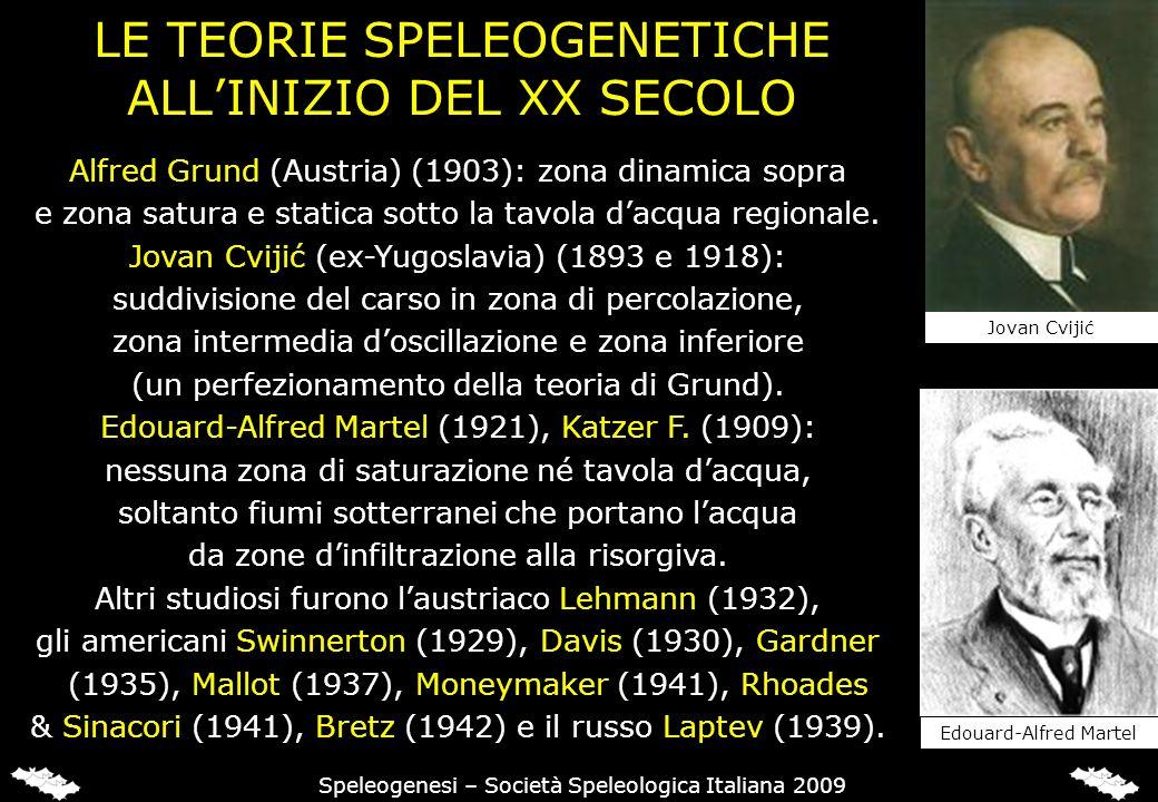 LE TEORIE SPELEOGENETICHE ALLINIZIO DEL XX SECOLO Alfred Grund (Austria) (1903): zona dinamica sopra e zona satura e statica sotto la tavola dacqua regionale.