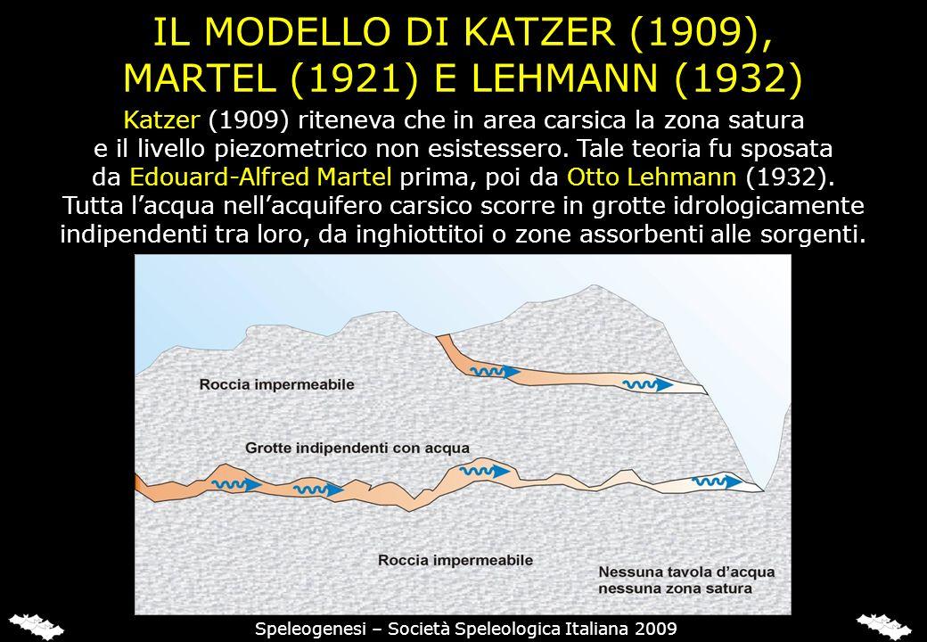 IL MODELLO DI KATZER (1909), MARTEL (1921) E LEHMANN (1932) Katzer (1909) riteneva che in area carsica la zona satura e il livello piezometrico non es