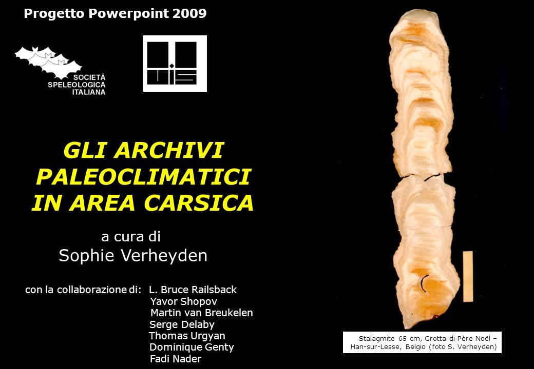 GLI ARCHIVI PALEOCLIMATICI IN AREA CARSICA a cura di Sophie Verheyden con la collaborazione di: L. Bruce Railsback Yavor Shopov Martin van Breukelen S