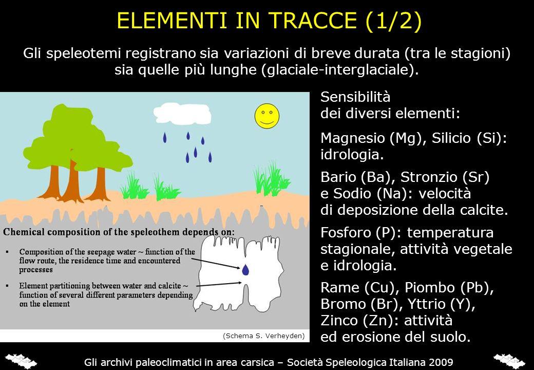 ELEMENTI IN TRACCE (1/2) Sensibilità dei diversi elementi: Magnesio (Mg), Silicio (Si): idrologia. Bario (Ba), Stronzio (Sr) e Sodio (Na): velocità di