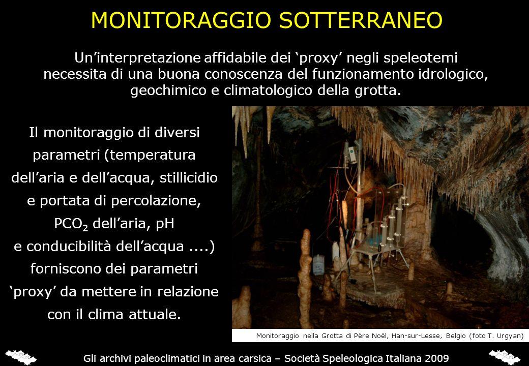 MONITORAGGIO SOTTERRANEO Il monitoraggio di diversi parametri (temperatura dellaria e dellacqua, stillicidio e portata di percolazione, PCO 2 dellaria