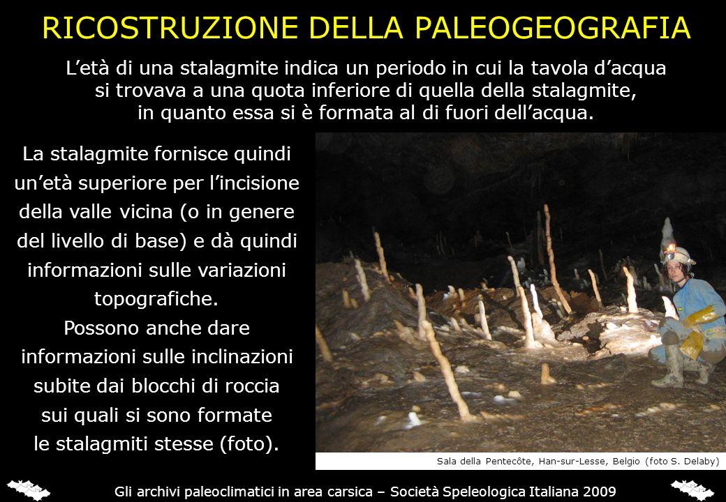 RICOSTRUZIONE DELLA PALEOGEOGRAFIA La stalagmite fornisce quindi unetà superiore per lincisione della valle vicina (o in genere del livello di base) e