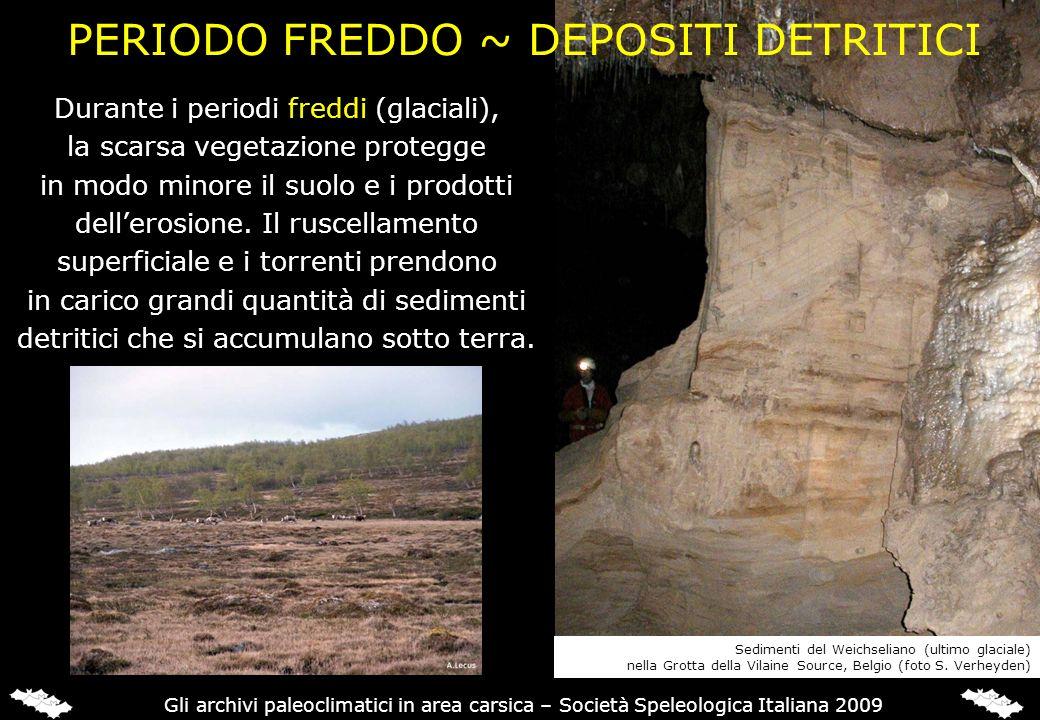 MINERALOGIA DEGLI SPELEOTEMI Un cambiamento o unalternanza di mineralogia è talvolta osservata nelle stalagmiti e viene messa in relazione con cambiamenti climatici.