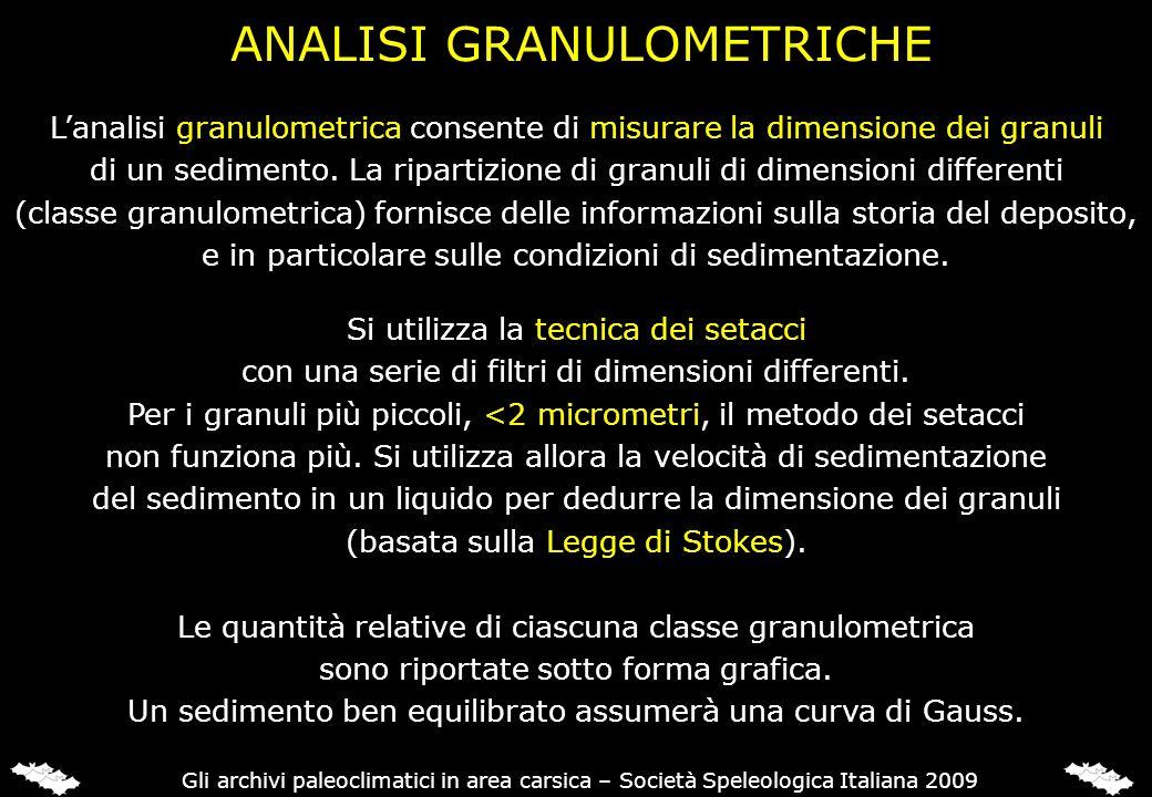 ANALISI GRANULOMETRICHE Lanalisi granulometrica consente di misurare la dimensione dei granuli di un sedimento. La ripartizione di granuli di dimensio