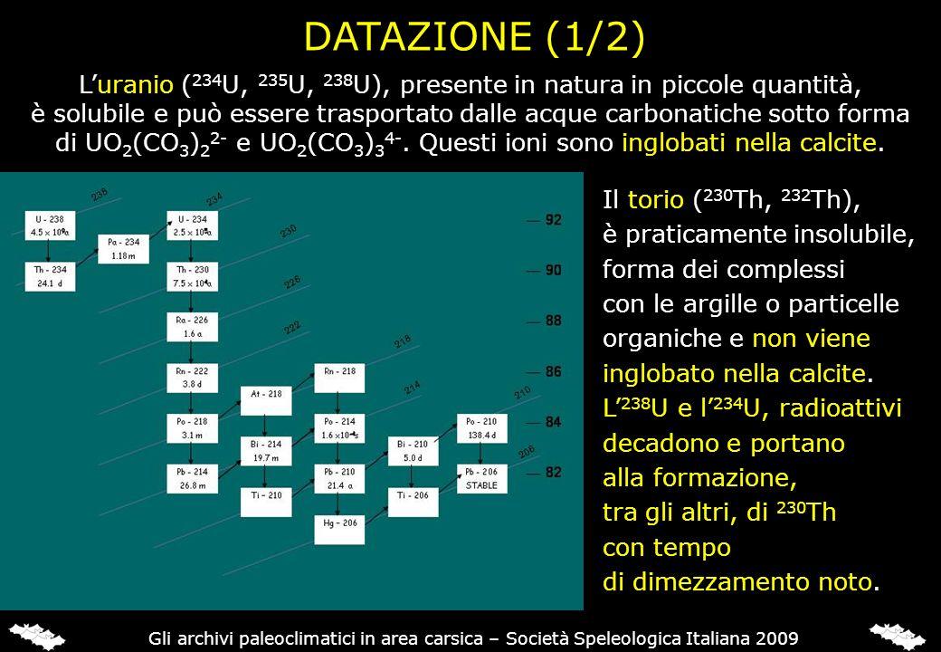 DATAZIONE (1/2) Luranio ( 234 U, 235 U, 238 U), presente in natura in piccole quantità, è solubile e può essere trasportato dalle acque carbonatiche s