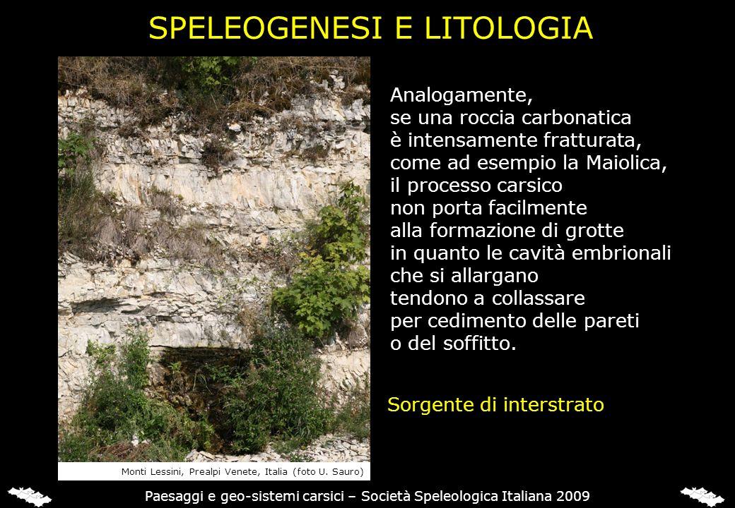 SPELEOGENESI E LITOLOGIA Analogamente, se una roccia carbonatica è intensamente fratturata, come ad esempio la Maiolica, il processo carsico non porta