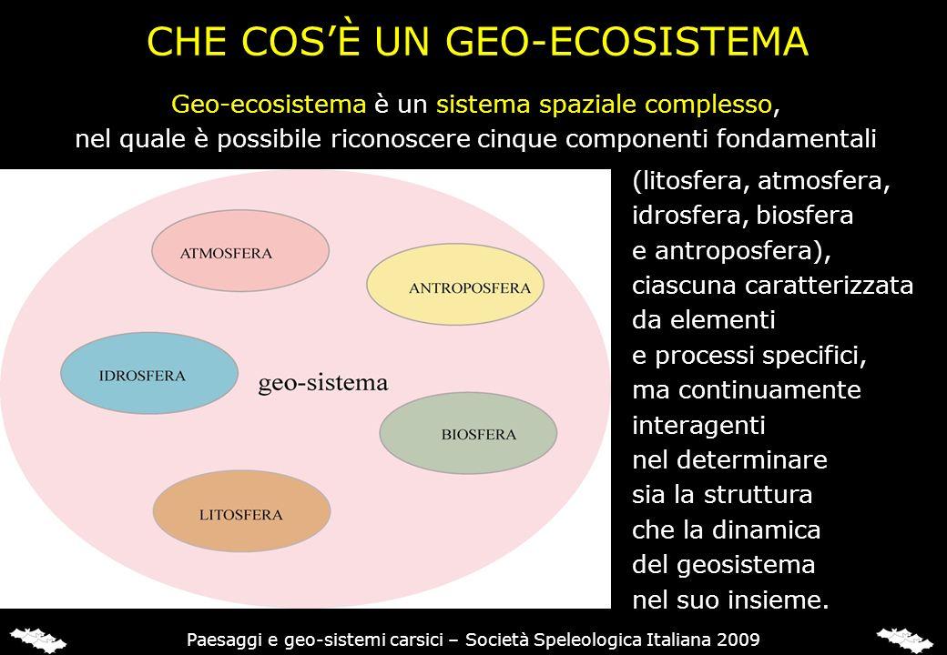 CHE COSÈ UN GEO-ECOSISTEMA (litosfera, atmosfera, idrosfera, biosfera e antroposfera), ciascuna caratterizzata da elementi e processi specifici, ma co