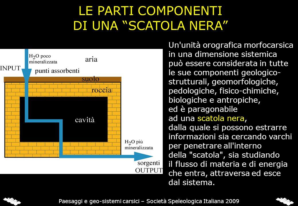 LE PARTI COMPONENTI DI UNA SCATOLA NERA Un'unità orografica morfocarsica in una dimensione sistemica può essere considerata in tutte le sue componenti