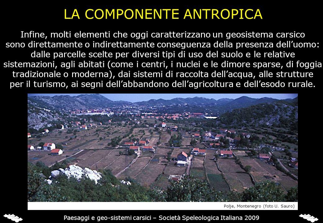 LA COMPONENTE ANTROPICA Infine, molti elementi che oggi caratterizzano un geosistema carsico sono direttamente o indirettamente conseguenza della pres