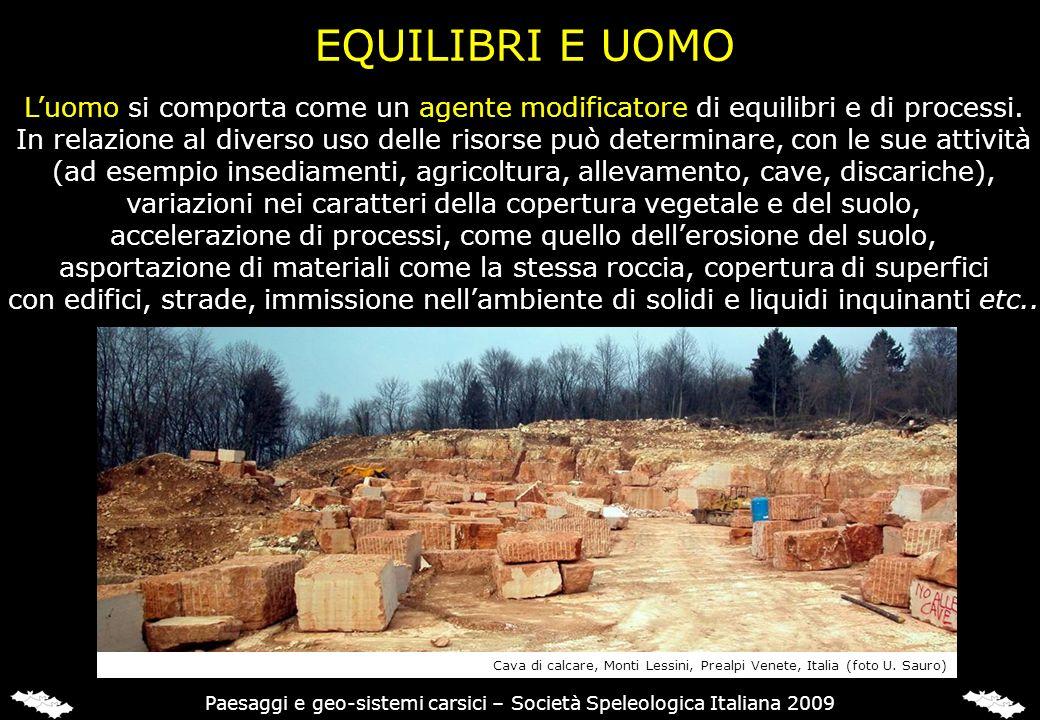 EQUILIBRI E UOMO Luomo si comporta come un agente modificatore di equilibri e di processi. In relazione al diverso uso delle risorse può determinare,