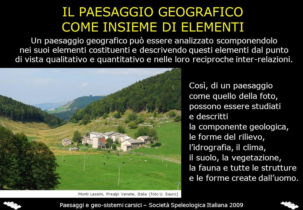 IL PAESAGGIO GEOGRAFICO COME INSIEME DI ELEMENTI Così, di un paesaggio come quello della foto, possono essere studiati e descritti la componente geolo