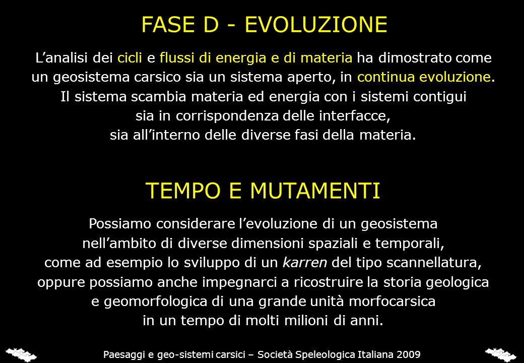FASE D - EVOLUZIONE Lanalisi dei cicli e flussi di energia e di materia ha dimostrato come un geosistema carsico sia un sistema aperto, in continua ev