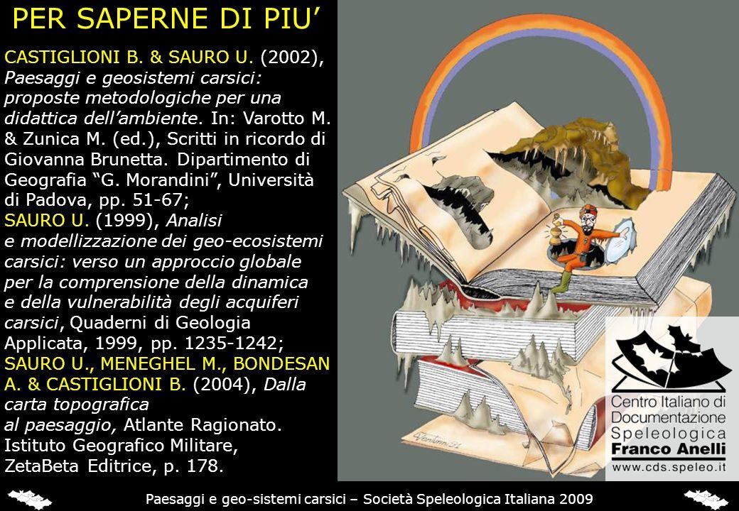 PER SAPERNE DI PIU CASTIGLIONI B. & SAURO U. (2002), Paesaggi e geosistemi carsici: proposte metodologiche per una didattica dellambiente. In: Varotto