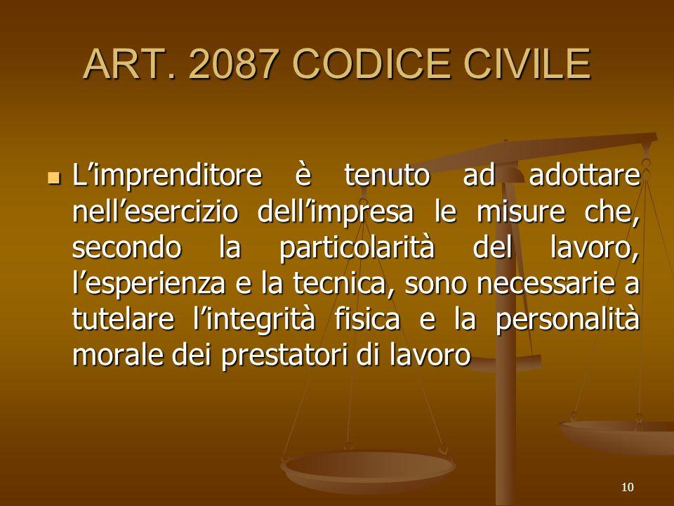 10 ART. 2087 CODICE CIVILE Limprenditore è tenuto ad adottare nellesercizio dellimpresa le misure che, secondo la particolarità del lavoro, lesperienz