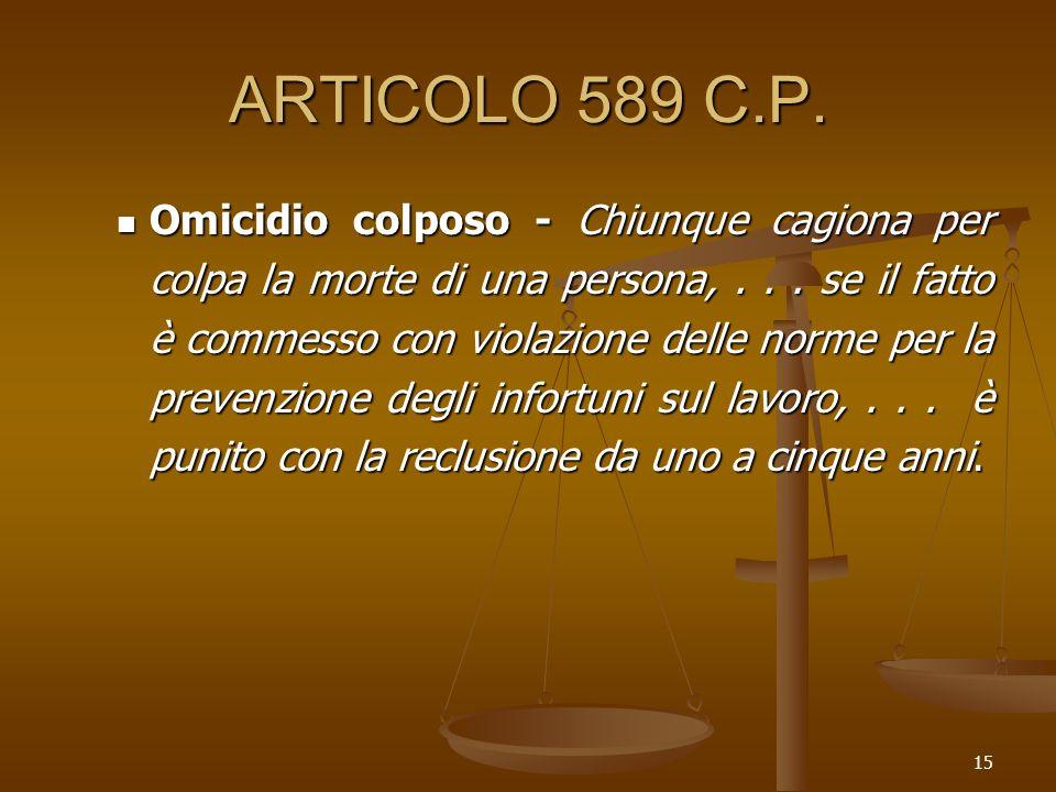 15 ARTICOLO 589 C.P. Omicidio colposo - Chiunque cagiona per colpa la morte di una persona,... se il fatto è commesso con violazione delle norme per l