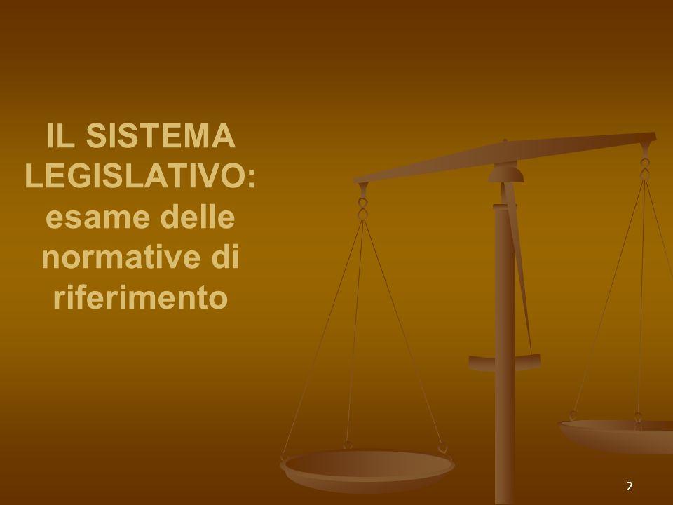 2 IL SISTEMA LEGISLATIVO: esame delle normative di riferimento