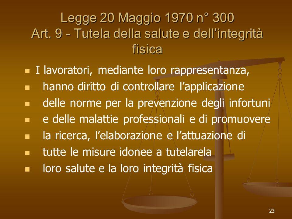 23 Legge 20 Maggio 1970 n° 300 Art. 9 - Tutela della salute e dellintegrità fisica I lavoratori, mediante loro rappresentanza, hanno diritto di contro