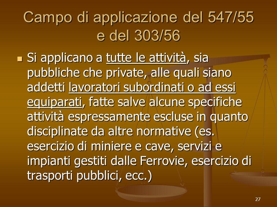 27 Campo di applicazione del 547/55 e del 303/56 Si applicano a tutte le attività, sia pubbliche che private, alle quali siano addetti lavoratori subo