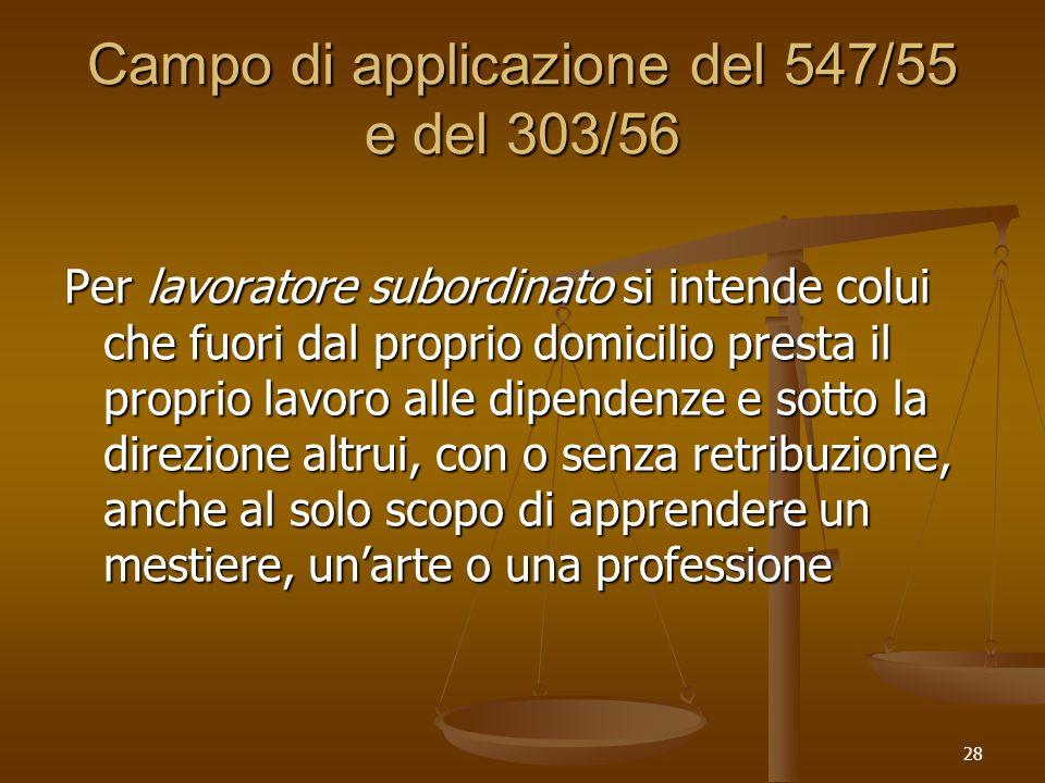 28 Campo di applicazione del 547/55 e del 303/56 Per lavoratore subordinato si intende colui che fuori dal proprio domicilio presta il proprio lavoro