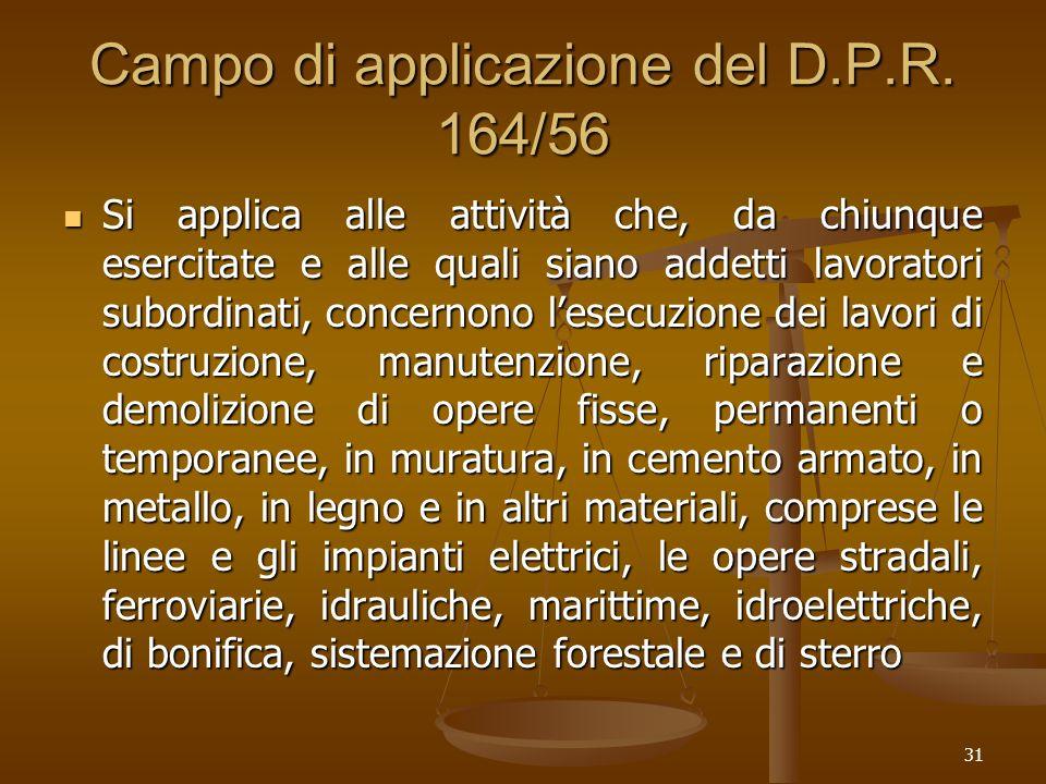 31 Campo di applicazione del D.P.R. 164/56 Si applica alle attività che, da chiunque esercitate e alle quali siano addetti lavoratori subordinati, con