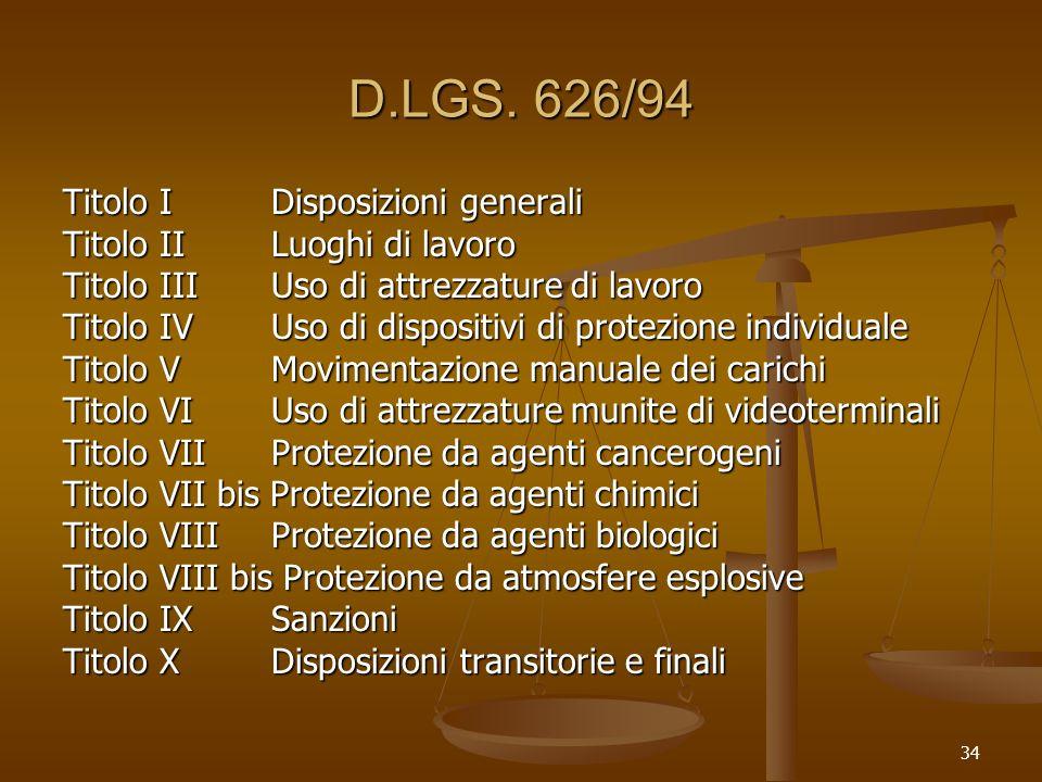 34 D.LGS. 626/94 Titolo IDisposizioni generali Titolo IILuoghi di lavoro Titolo IIIUso di attrezzature di lavoro Titolo IVUso di dispositivi di protez
