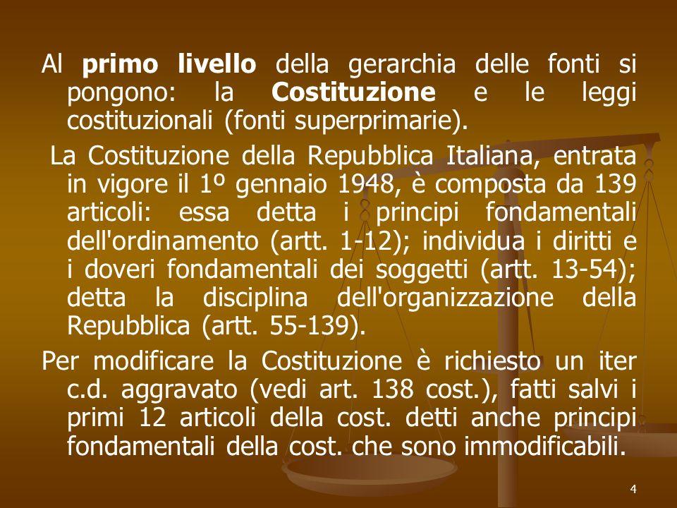 4 Al primo livello della gerarchia delle fonti si pongono: la Costituzione e le leggi costituzionali (fonti superprimarie). La Costituzione della Repu
