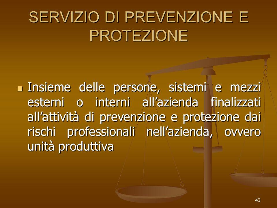 43 SERVIZIO DI PREVENZIONE E PROTEZIONE Insieme delle persone, sistemi e mezzi esterni o interni allazienda finalizzati allattività di prevenzione e p