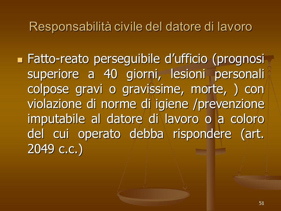 51 Responsabilità civile del datore di lavoro Fatto-reato perseguibile dufficio (prognosi superiore a 40 giorni, lesioni personali colpose gravi o gra