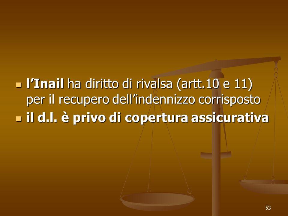 53 lInail ha diritto di rivalsa (artt.10 e 11) per il recupero dellindennizzo corrisposto lInail ha diritto di rivalsa (artt.10 e 11) per il recupero dellindennizzo corrisposto il d.l.