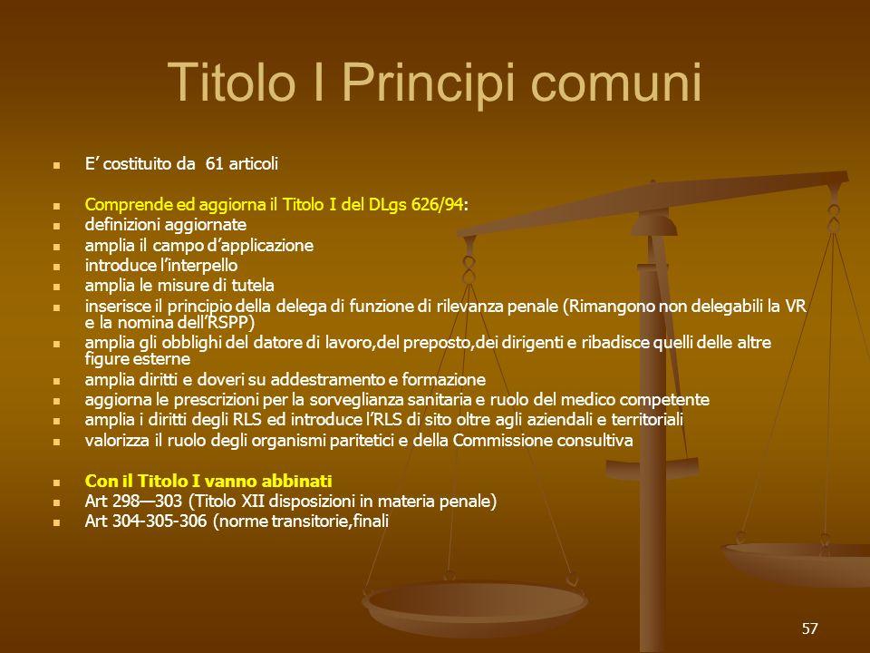 57 Titolo I Principi comuni E costituito da 61 articoli Comprende ed aggiorna il Titolo I del DLgs 626/94: definizioni aggiornate amplia il campo dapp