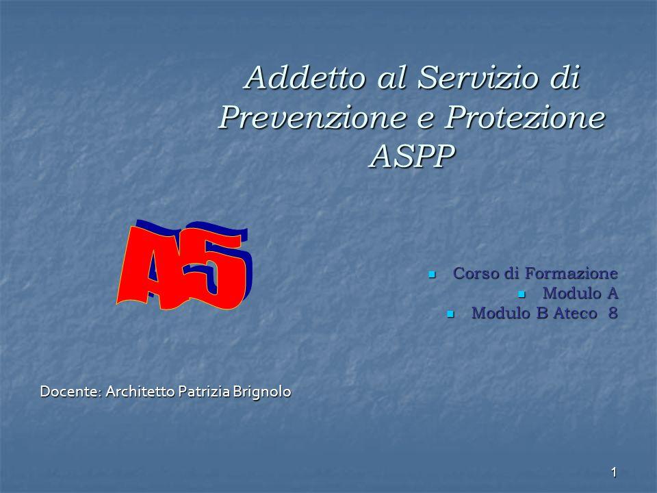 1 Addetto al Servizio di Prevenzione e Protezione ASPP Corso di Formazione Corso di Formazione Modulo A Modulo A Modulo B Ateco 8 Modulo B Ateco 8 Docente: Architetto Patrizia Brignolo