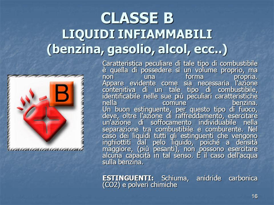 16 CLASSE B LIQUIDI INFIAMMABILI (benzina, gasolio, alcol, ecc..) Caratteristica peculiare di tale tipo di combustibile è quella di possedere sì un volume proprio, ma non una forma propria.