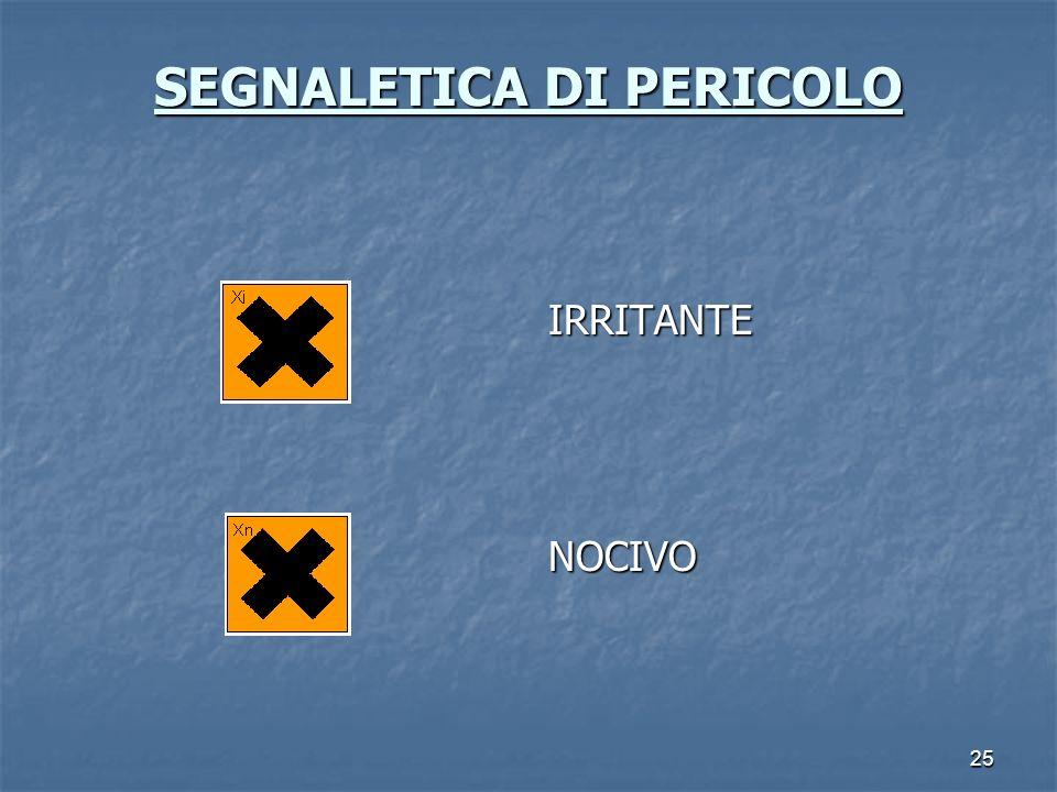25 SEGNALETICA DI PERICOLO SEGNALETICA DI PERICOLO IRRITANTENOCIVO