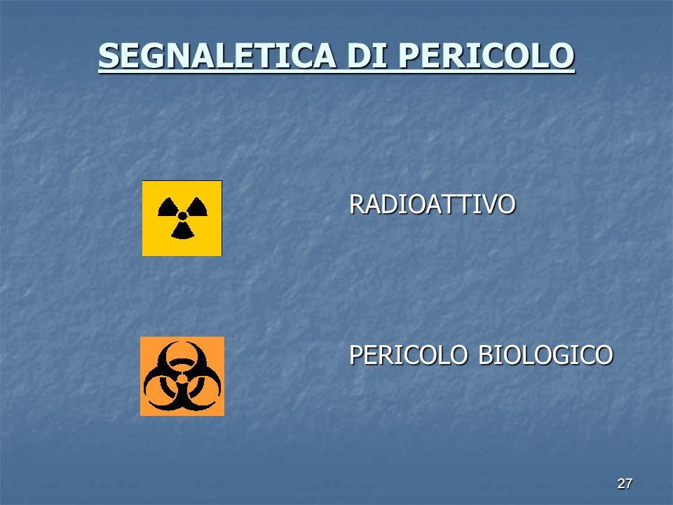 27 SEGNALETICA DI PERICOLO SEGNALETICA DI PERICOLO RADIOATTIVO PERICOLO BIOLOGICO