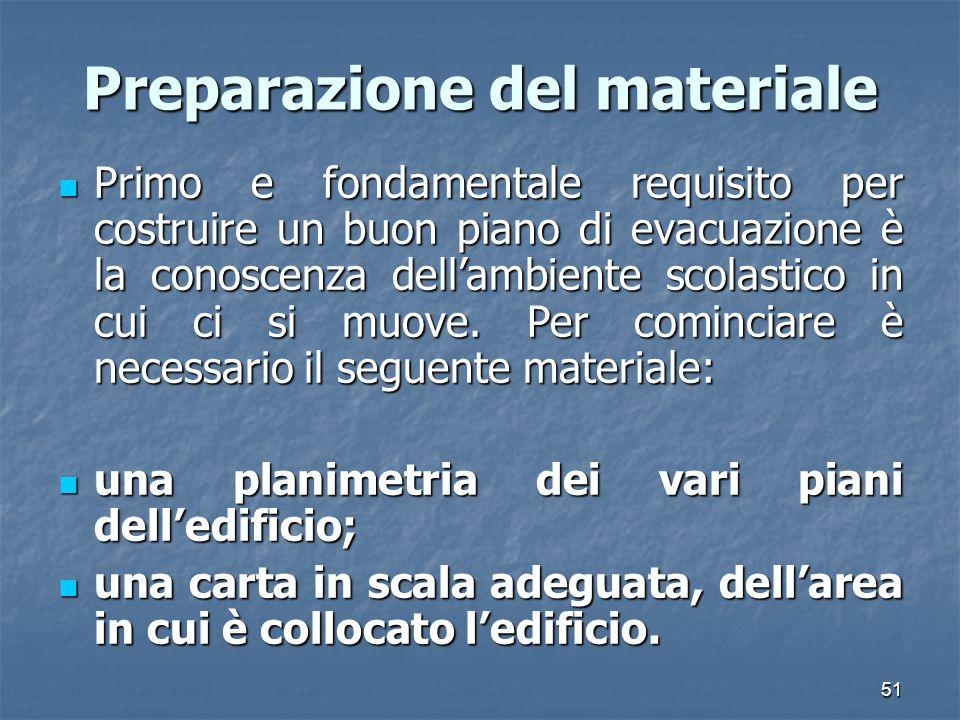 51 Preparazione del materiale Primo e fondamentale requisito per costruire un buon piano di evacuazione è la conoscenza dellambiente scolastico in cui ci si muove.