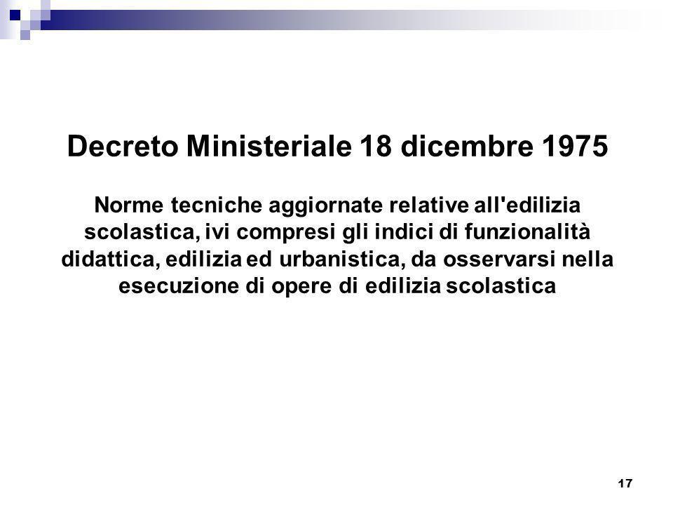 17 Decreto Ministeriale 18 dicembre 1975 Norme tecniche aggiornate relative all'edilizia scolastica, ivi compresi gli indici di funzionalità didattica
