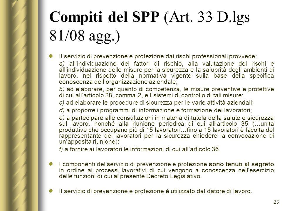 23 Compiti del SPP (Art. 33 D.lgs 81/08 agg.) Il servizio di prevenzione e protezione dai rischi professionali provvede: a) allindividuazione dei fatt