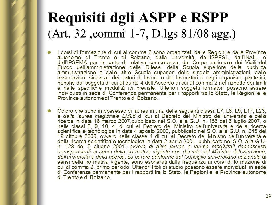 29 Requisiti dgli ASPP e RSPP (Art. 32,commi 1-7, D.lgs 81/08 agg.) I corsi di formazione di cui al comma 2 sono organizzati dalle Regioni e dalle Pro