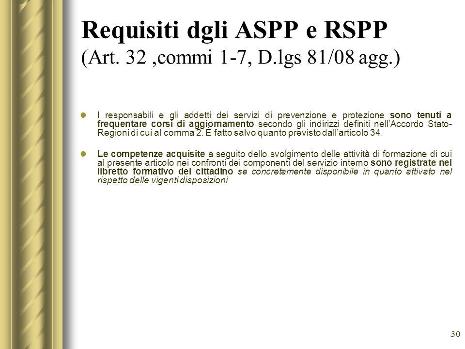 30 Requisiti dgli ASPP e RSPP (Art. 32,commi 1-7, D.lgs 81/08 agg.) I responsabili e gli addetti dei servizi di prevenzione e protezione sono tenuti a