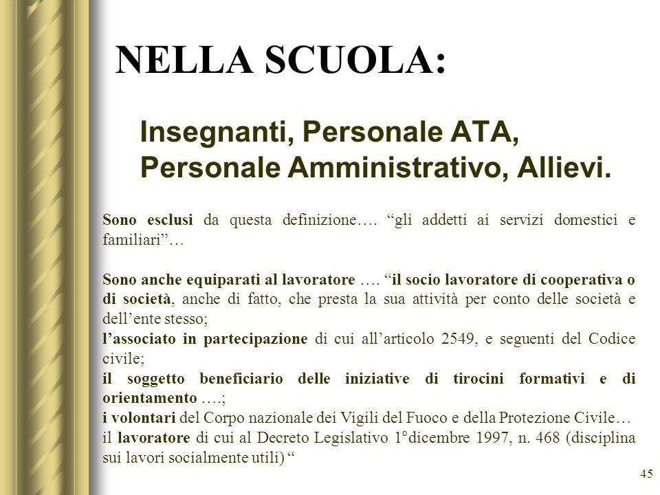 45 NELLA SCUOLA: Insegnanti, Personale ATA, Personale Amministrativo, Allievi. Sono esclusi da questa definizione…. gli addetti ai servizi domestici e