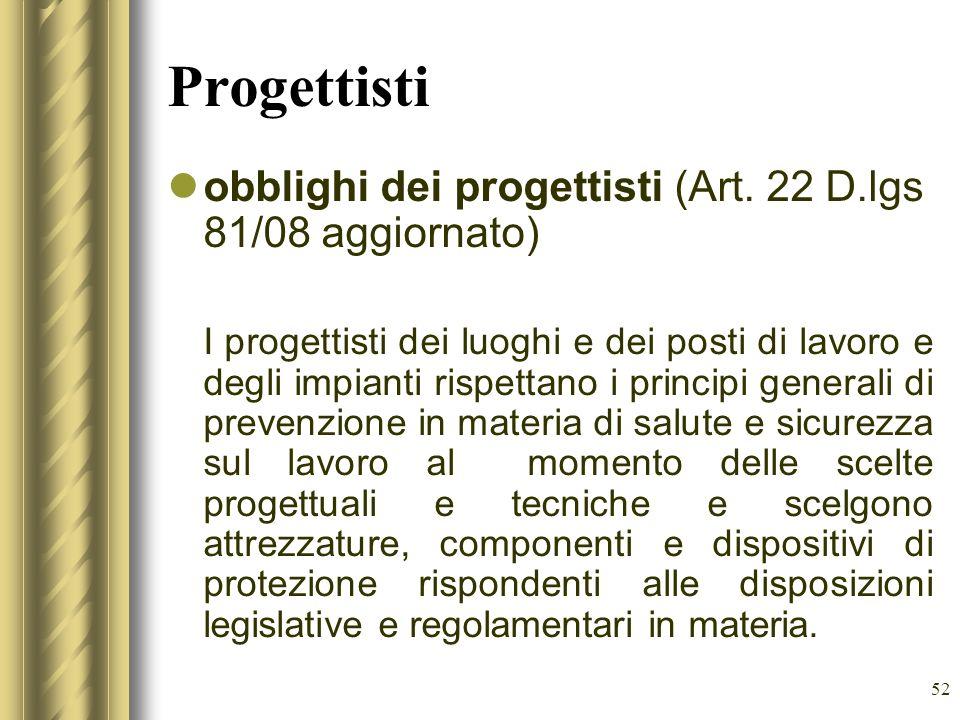 52 Progettisti obblighi dei progettisti (Art. 22 D.lgs 81/08 aggiornato) I progettisti dei luoghi e dei posti di lavoro e degli impianti rispettano i